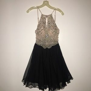 David's Bridal Nude & Black Formal Dress